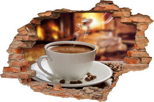 3D Wand-Bild Wand-Tattoo Wand-Aufkleber Kaffee-Tasse Kaffee-Bohnen Kamin Dampf