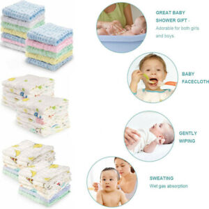 Baby-Enfant-Musselin-Baumwoll-Badetuch-Waschlappen-Gesichtstuecher-Duschgeschenk