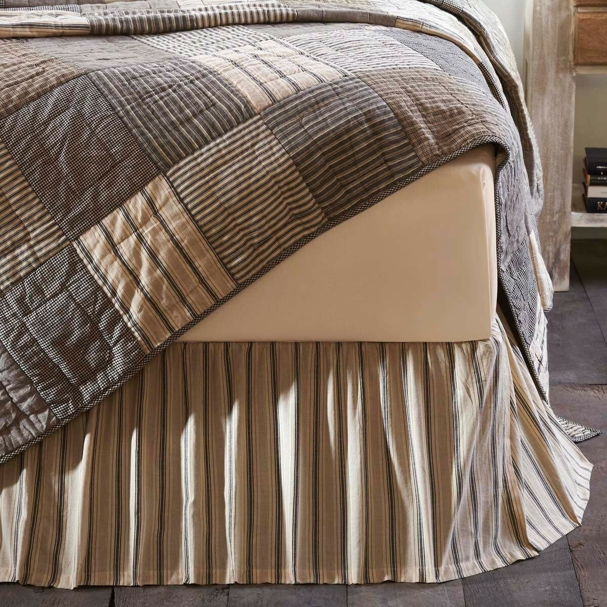 KING Bed Skirt Striped Rustic French Country 100% Cotton Farmhouse Shabby Creme