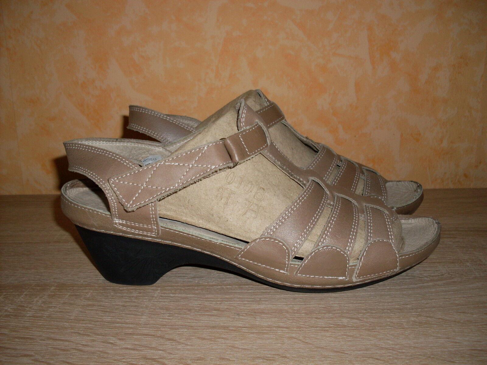 La mia Klett Sandalette mit Shok Absatz NEU Gr. 41 o. 42 in brown & Nappa Leder