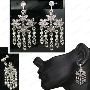 Clip on screw marcasite crystal floral chandelier earrings vintage image is loading clip on screw marcasite crystal floral chandelier earrings aloadofball Image collections