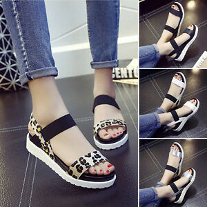 b9d6e5959382 Womens Summer Casual Flats Peep Toe Elastic Ankle Strap Sandals ...