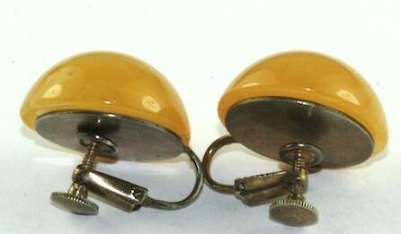 VTG PINEAPPLE SWIRL CLIP SCREW BAKELITE EARRINGS - image 2