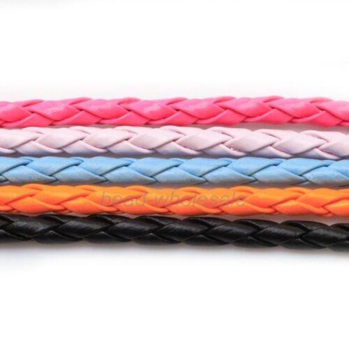New 5M Black//Red//Orange//Pink Leather Braid Rope Hemp Cord For Necklace Bracelet