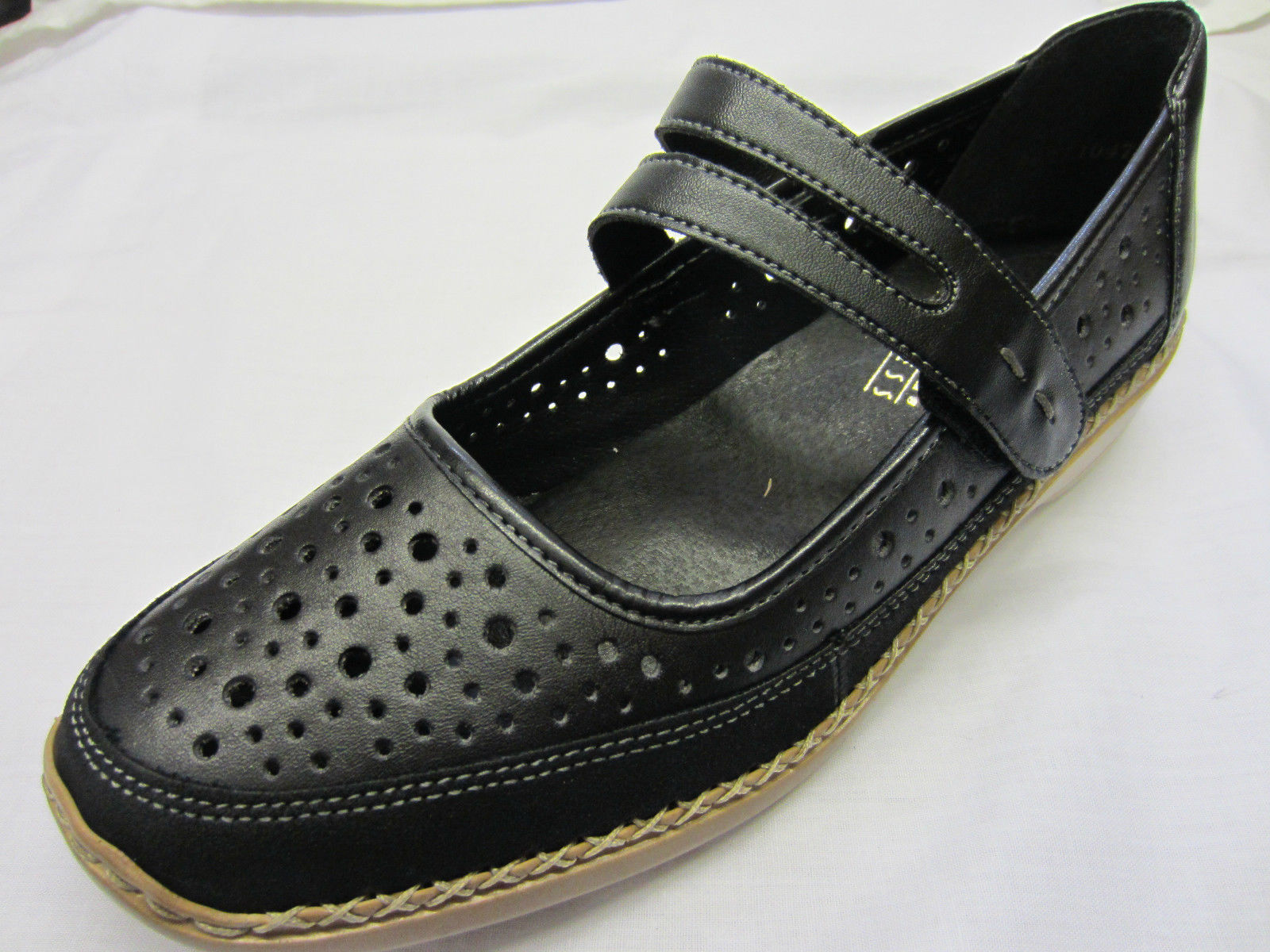 Ladies Black Leather Leather Leather Riptape Rieker shoes 41317 504a9f