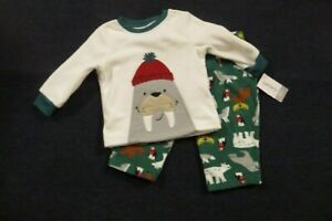 NEW-Carter-039-s-Baby-Boys-2-Piece-Woodland-Print-Fleece-Pajamas-12-Months-NWT