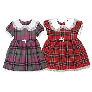 Royal-stewart-filles-tartan-robe-d-039-ete-imprime-floral-robe-age-6-mois-7-ans