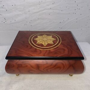 Vintage Cherry Burl Inlaid Wood Music Box Made In Italy D