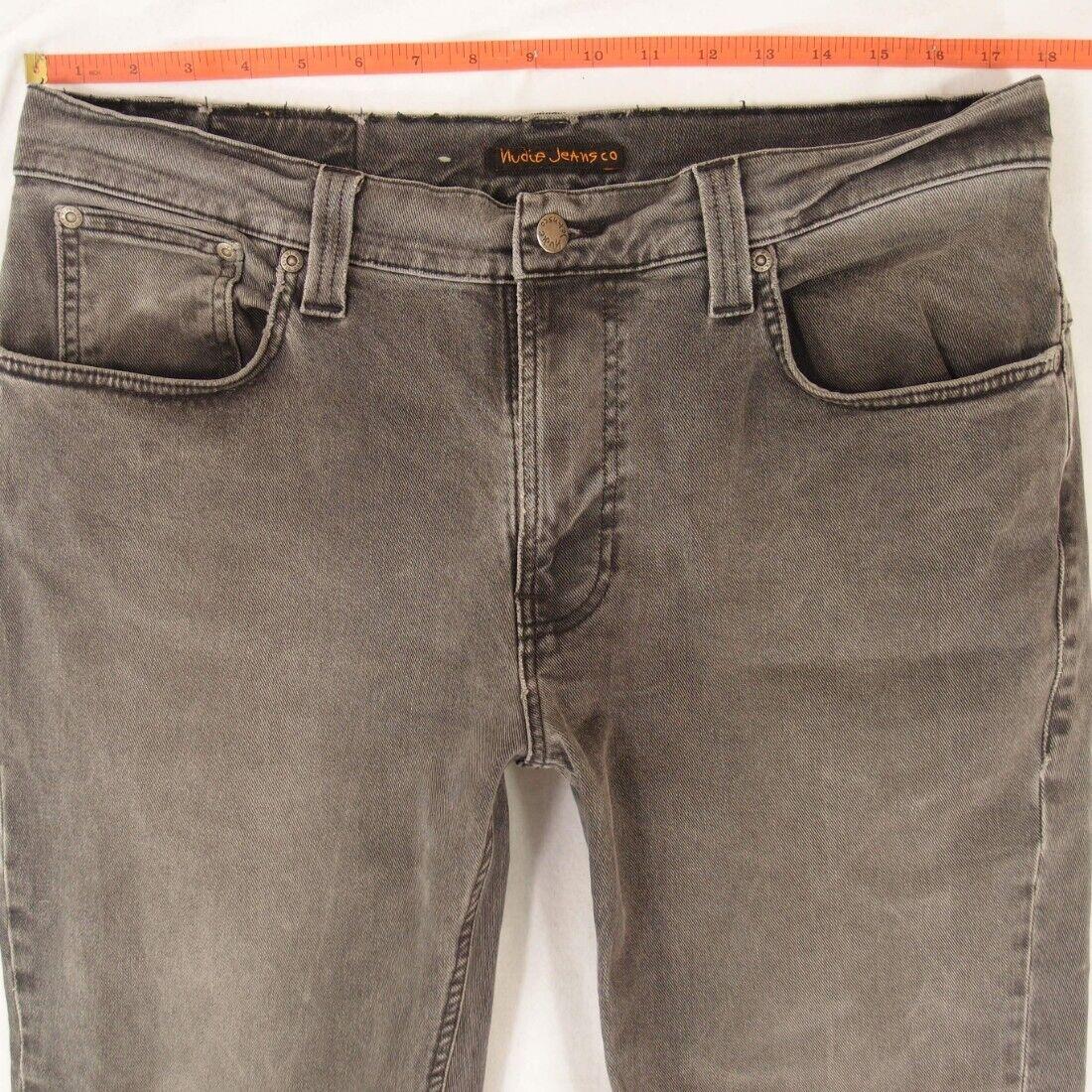 1ec492e4 Mens Nudie THIN FINN Stretch Slim Straight Jeans W35 W36 L34 Grey ...