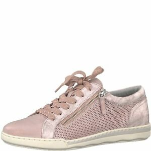 Details about Tamaris 23619 Rose Pink Leather Combination Lace Trainers With Removable Insole