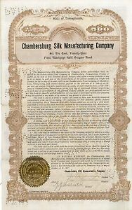 Chambersburg-Silk-Manufacturing-Co-gt-1904-Delaware-old-bond-certificate-share