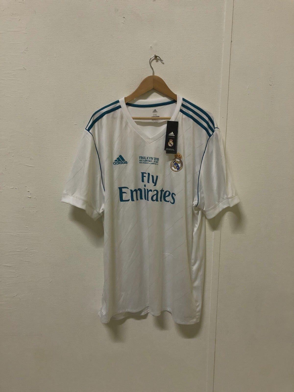 Adidas Men's Real Madrid 2017 18 CL Final Home Shirt - 2XL - No Name - New