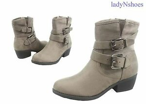 NEW-Women-039-s-Light-Gray-Round-Toe-Buckles-Low-Heel-Ankle-Booties-Size-5-5-10