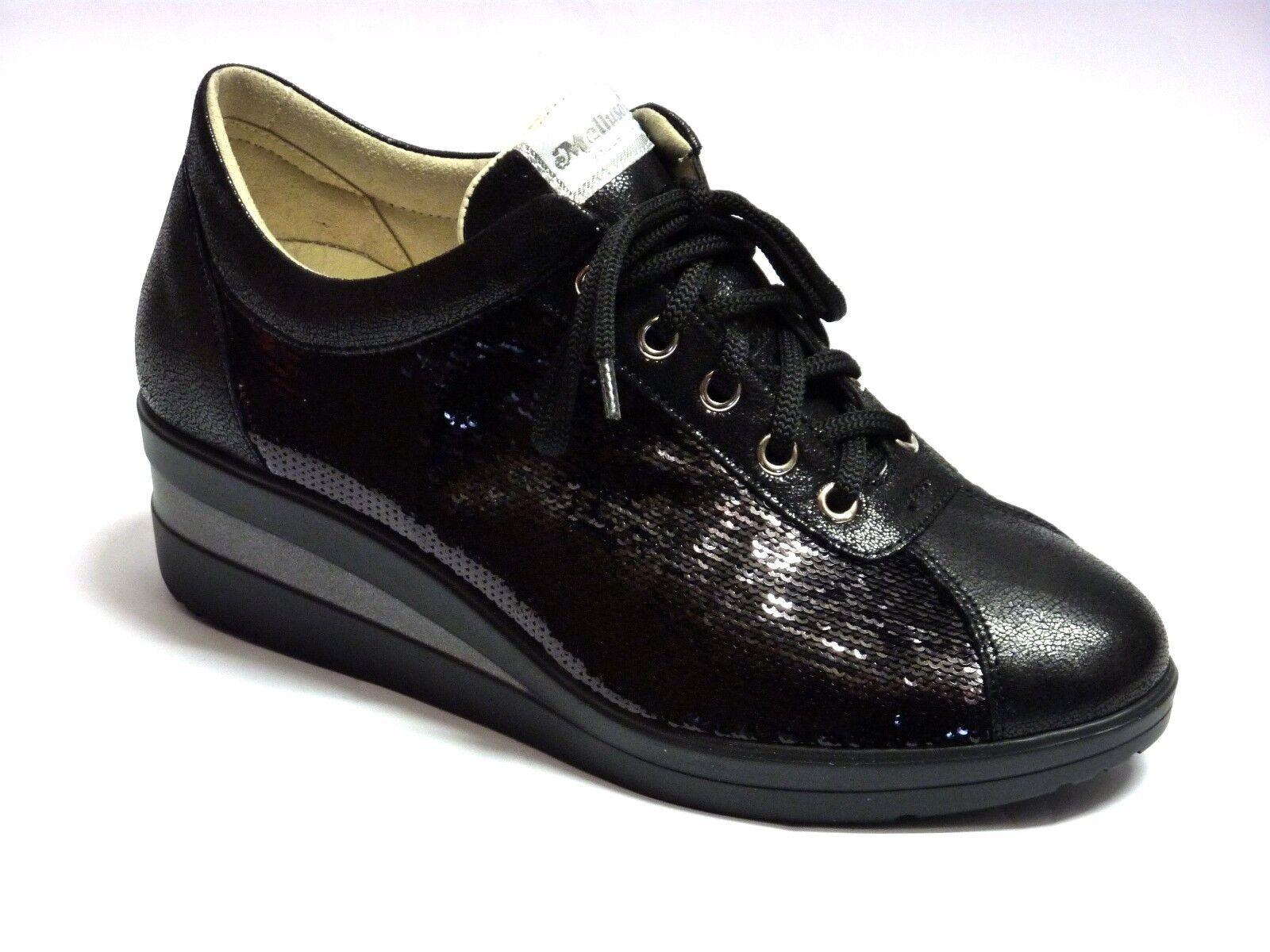 R20114 MELLUSO SNEAKERS IN PELLE CON PAILLETTES color black  MODA COMODA n. 35