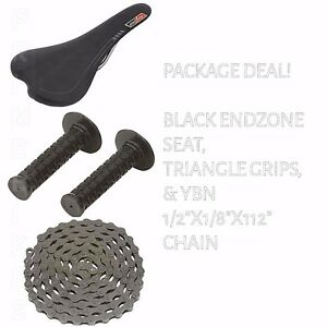 PACKAGE DEAL! BICYCLE SEAT GRIPS CHAIN BLACK - BIKES BMX ROAD MTB FIXIE CYCLING