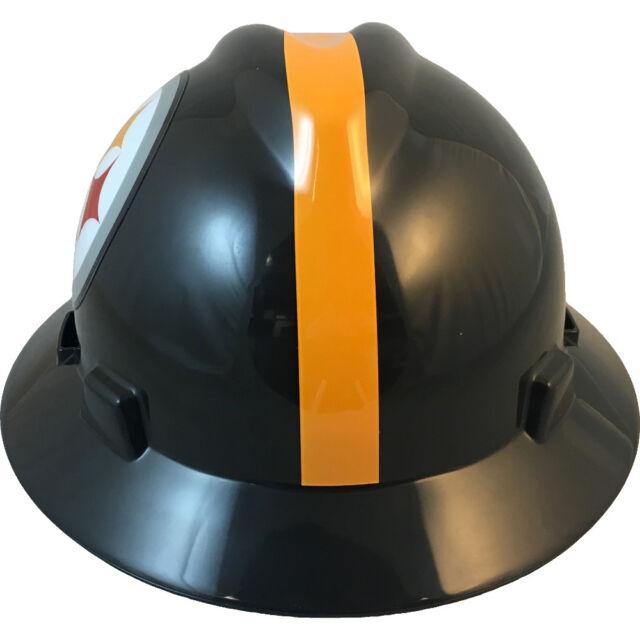 cd5310b6 MSA V-gard Full Brim Pittsburgh Steelers NFL Hard Hat Type 3 Ratchet  Suspension