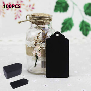 100Pcs Kraft Paper Gift Blank Hang Tags Jewelry Labels Cards Tag Decor Black AU