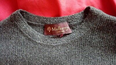 Vtg Mulberry Short Sleeve Knitted Sweater Top Pullover Grey UK 6-8 S