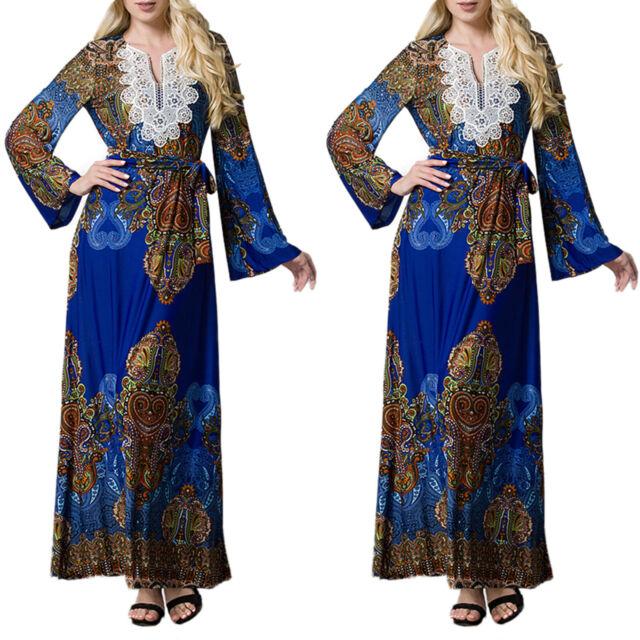 Plus Size Women Muslim Abaya Floral V-Neck Kaftan Long Sleeve Islamic Maxi Dress
