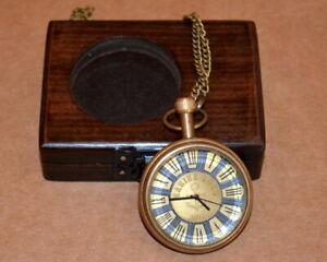 Vintage-antique-maritime-brass-pocket-watch-marine-art-collectible-w-wooden-box