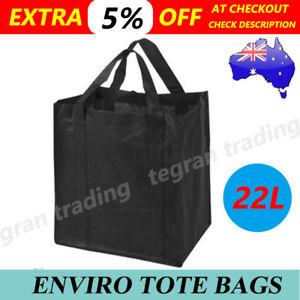 1a61db70f62 10x Bulk Reusable Black Shopping Tote Bags Enivro Eco Friendly Non ...