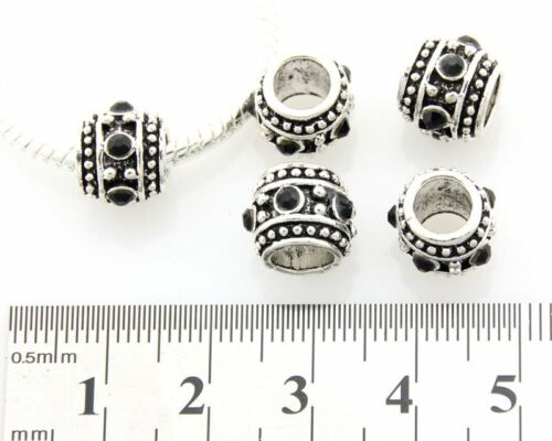 5pcs Argent//P strass cristal Big Hole beads for European CHARM BRACELET E40