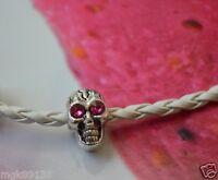 Rosy Crystal Eyes Silver SKULL Spacer Charm Bead Fit European Bracelets