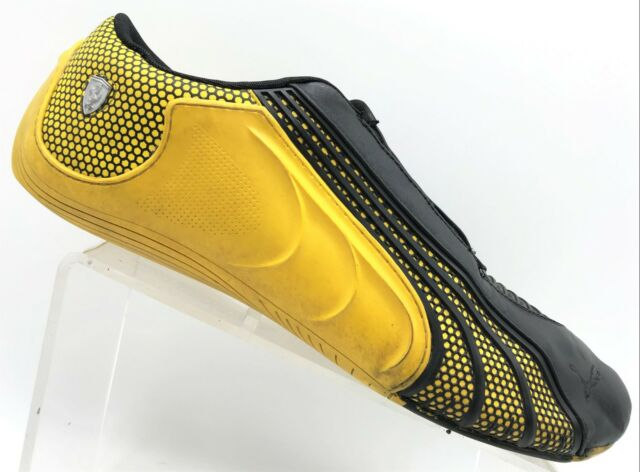 Puma Ferrari Black Yellow Leather Lace Up Athletic Shoes Men's 13