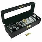 Ikee Design Deluxe Watch Display Case Key Lock Clear Glass Top.