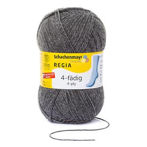 Regia Classic Uni  100g 4 fädig Sockenwolle Farbe 44 mittelgrau meliert