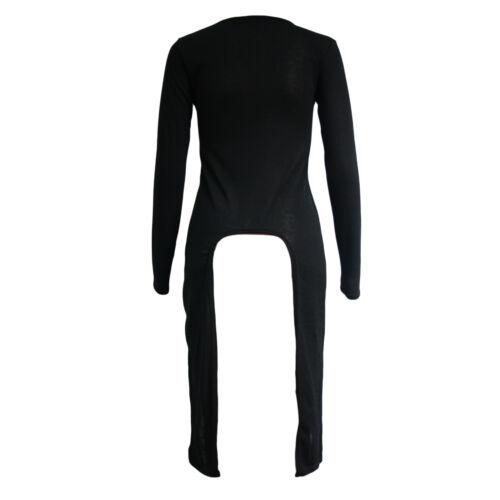New Womens Ladies Full Sleeve Extreme Hem Split Side Back Top Tshit Dress 8-14