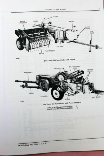 PARTS MANUAL FOR JOHN DEERE 224 224T 224WS BALER EXPLODED VIEWS KNOTTER TEETH