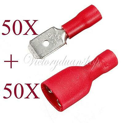 100 Red Spade Crimp Terminals Fully Insulated Electrical Connectors Audio Wiring