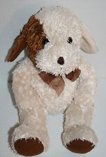 "Kellytoy DOG 12"" Cream Brown String Cotton Plush Stuffed Animal Bow Soft Toy"