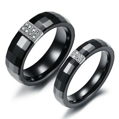 Tungsten Black Colour Crystal Mens Women Lover Couple Ring Set