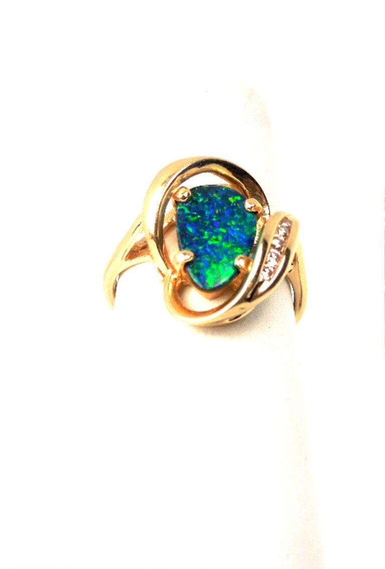 New Opal Triplet Diamond .05ct 14kt YG Ring  GAL Appraisal  Gift Box