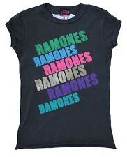 AMPLIFIED THE RAMONES Strass Rock Star Vintage Nähte Aussen T-Shirt S