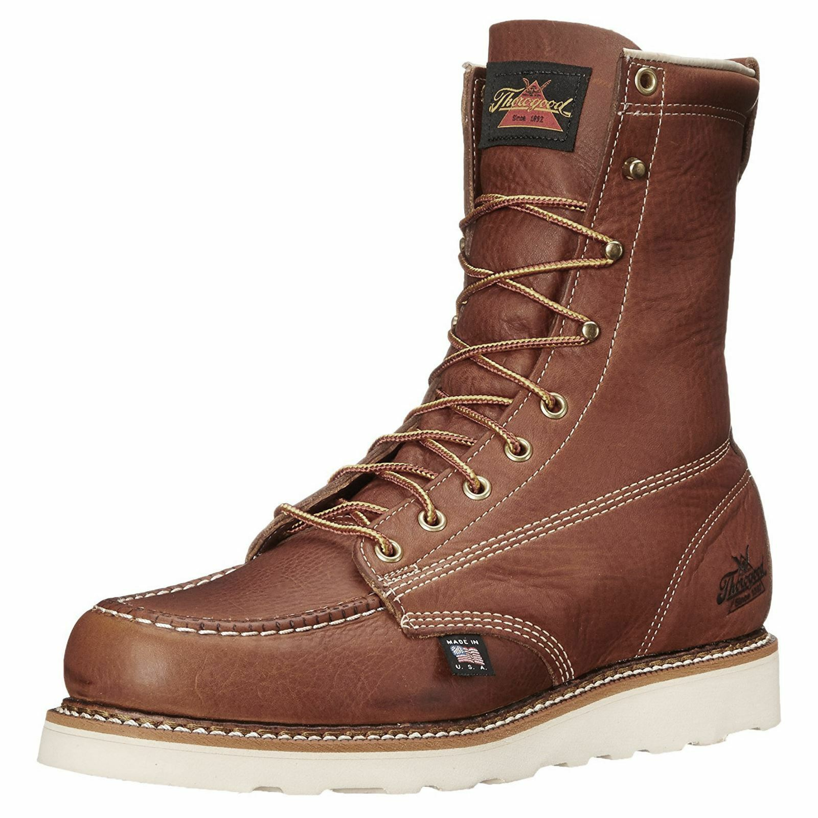 Thorogood 8  Moc Toe Cuña 814-4201 tabaco para hombre de cuero mitad de la pantorrilla botas de trabajo