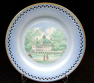 "B&G BING GRONDAHL #3560 CASTLES & MONUMENT PIERCED RIM 6 3/4"" PIE DESSERT PLATE"