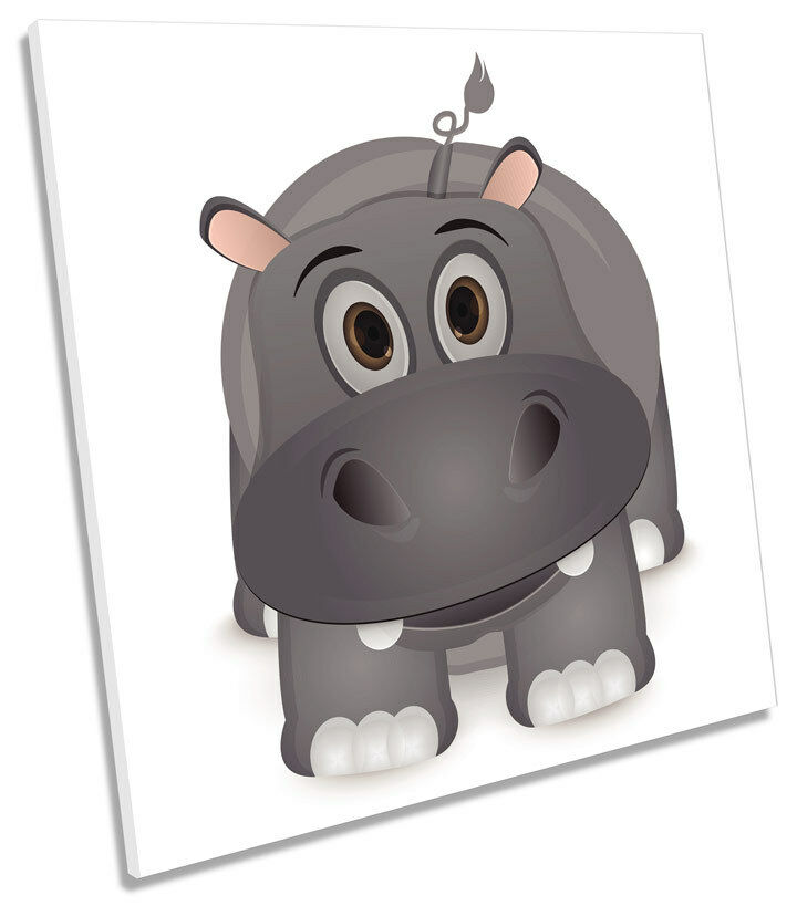 Hippo Cute Kids Room SQUARE CANVAS Wand Kunst Bild Drucken