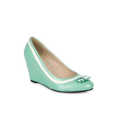 Lulu Hun ida 3 pulgadas Cuña Zapato Clásico Rockabilly Verde Menta Y Blanco Talla 3