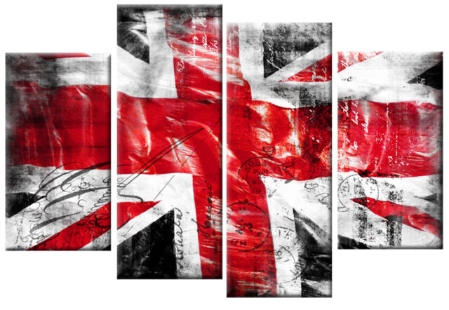 Extra Large Canvas Red Black White Union Jack Picture Split Wall Art ...
