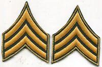 Early Vietnam Era Us Army Sergeant Green Stripes Patch Pair Cut Edge
