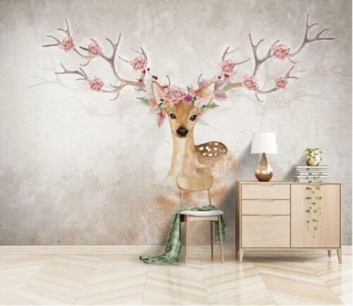 3D Hirsch Blume H2641 Tapete Wandbild Selbstklebend Abnehmbare Aufkleber Wend