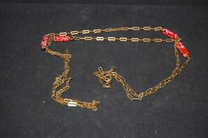 100% De Qualité Original Vintage 1950er Doré Bijoux De Mode Murano Perles Rouge Verre Millefiori ProcéDéS De Teinture Minutieux