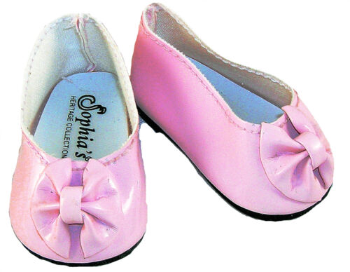 Light Pink Patent Dress Shoes with Bow  Fits 18 inch American Girl Dolls