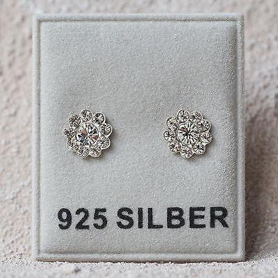 Neu 925 Silber Ohrstecker Blüte Swarovski Steine Kristallklar/crystal Ohrringe Hohe Belastbarkeit