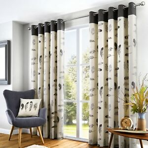 Fusion IDAHO Charcoal Grey Feather Motif 100% Cotton Eyelet  Curtains & Cushions