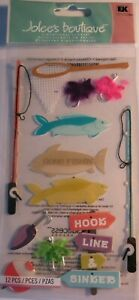 JOLEE/'S BOUTIQUE FISH FISHING 9 PC STICKERS SCRAPBOOK CRAFT VACATION TRAVEL