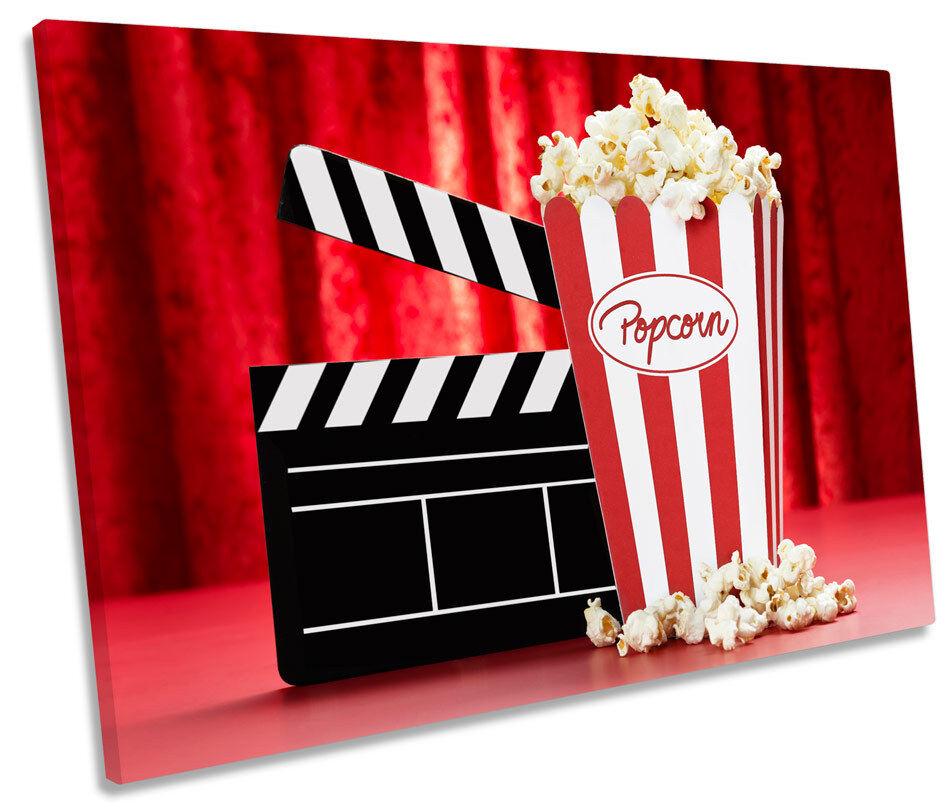 Cinema Room Popcorn Films CANVAS WALL ART Picture Print Single